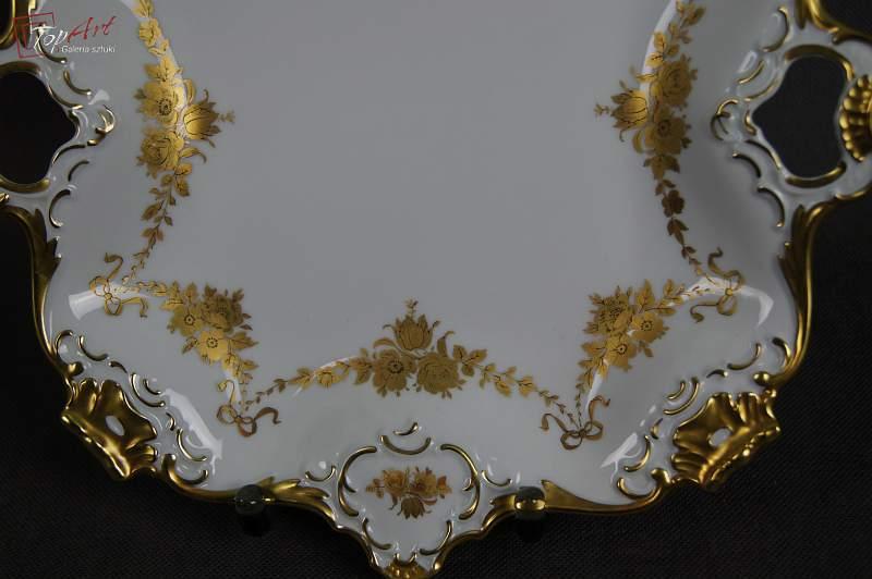 Cudowna złocona porcelanowa patera Kaiser