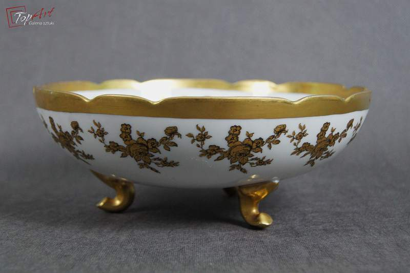 Bajeczna złocona porcelanowa patera Limoges